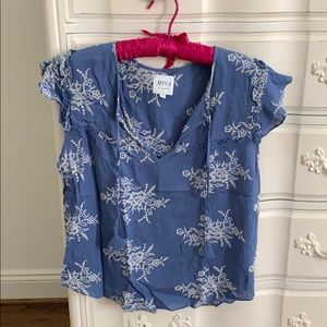 Misa blue flutter sleeve blouse